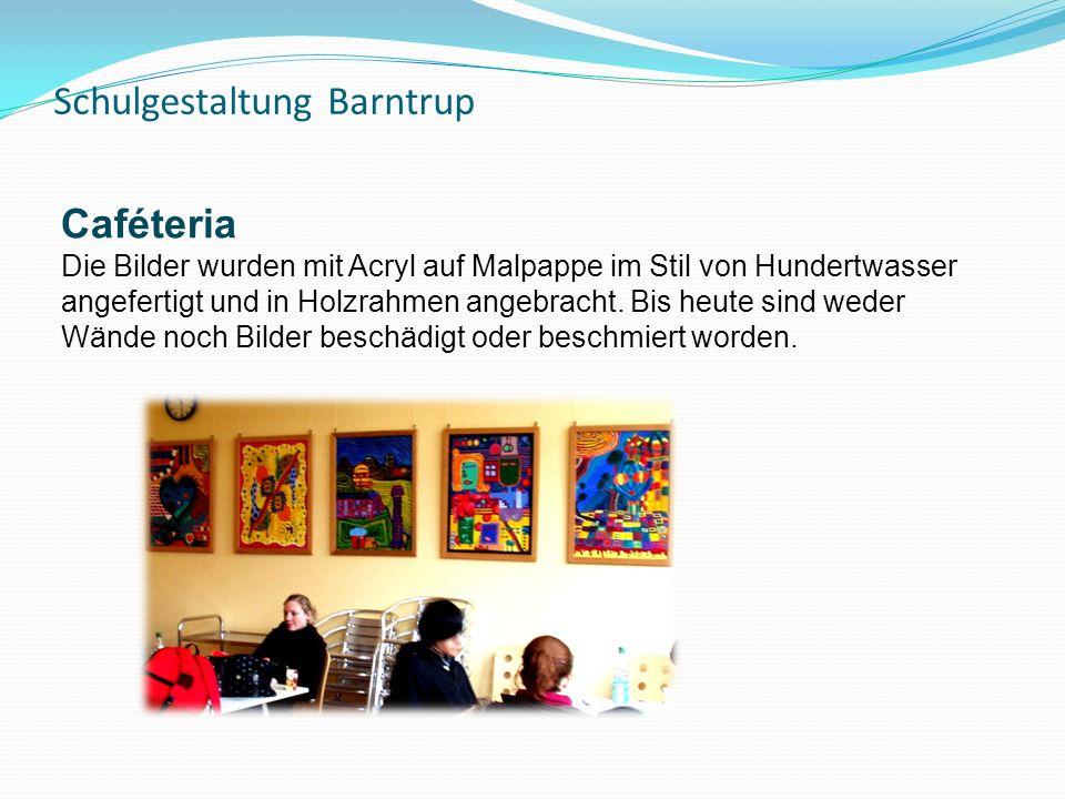 Schulgestaltung Barntrup Caféteria Die Bilder wurden mit Acryl auf Malpappe im Stil von Hundertwasser angefertigt und in Holzrahmen angebracht.