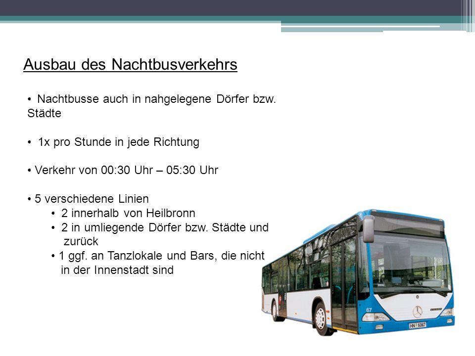 Ausbau des Nachtbusverkehrs Nachtbusse auch in nahgelegene Dörfer bzw.