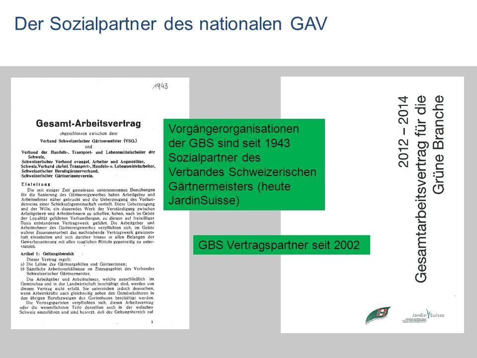 Der Sozialpartner des nationalen GAV Vorgängerorganisationen der GBS sind seit 1943 Sozialpartner des Verbandes Schweizerischen Gärtnermeisters (heute JardinSuisse) GBS Vertragspartner seit 2002