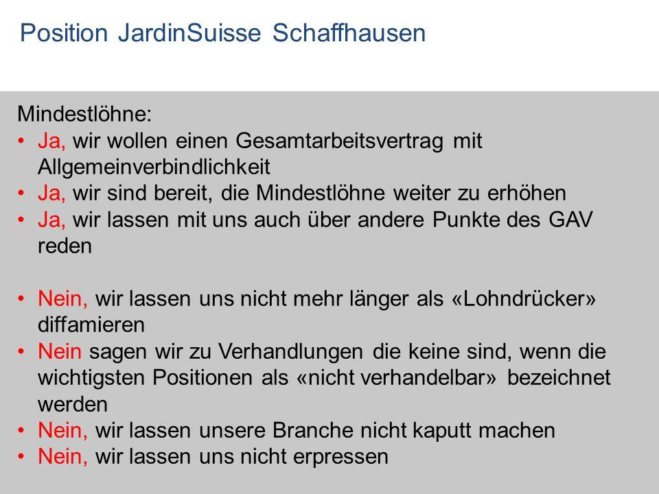 Position JardinSuisse Schaffhausen Mindestlöhne: Ja, wir wollen einen Gesamtarbeitsvertrag mit Allgemeinverbindlichkeit Ja, wir sind bereit, die Minde