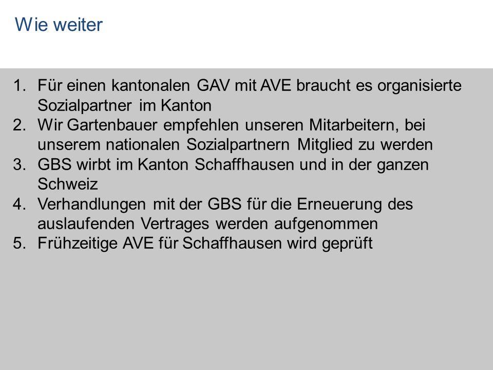 Wie weiter 1.Für einen kantonalen GAV mit AVE braucht es organisierte Sozialpartner im Kanton 2.Wir Gartenbauer empfehlen unseren Mitarbeitern, bei un