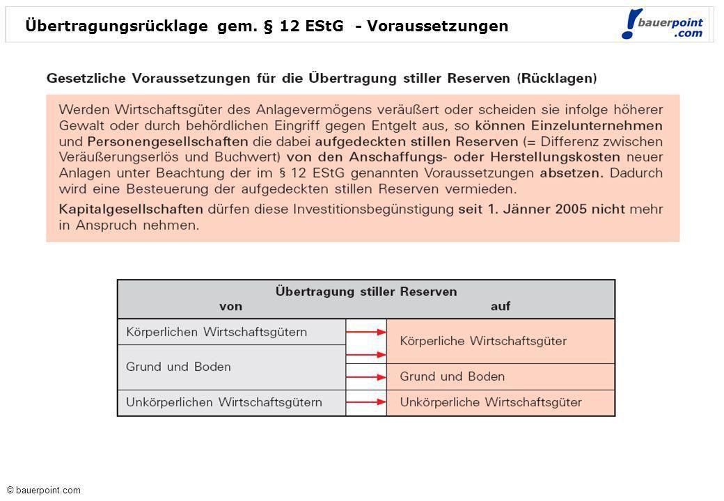 © bauerpoint.com © bauerpoint.com Übertragungsrücklage gem. § 12 EStG - Voraussetzungen
