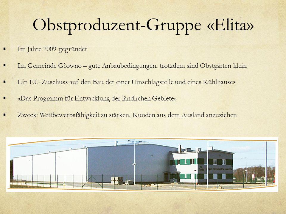 Obstproduzent-Gruppe «Elita» Im Jahre 2009 gegründet Im Gemeinde Głowno – gute Anbaubedingungen, trotzdem sind Obstgärten klein Ein EU-Zuschuss auf den Bau der einer Umschlagstelle und eines Kühlhauses «Das Programm für Entwicklung der ländlichen Gebiete» Zweck: Wettbewerbsfähigkeit zu stärken, Kunden aus dem Ausland anzuziehen
