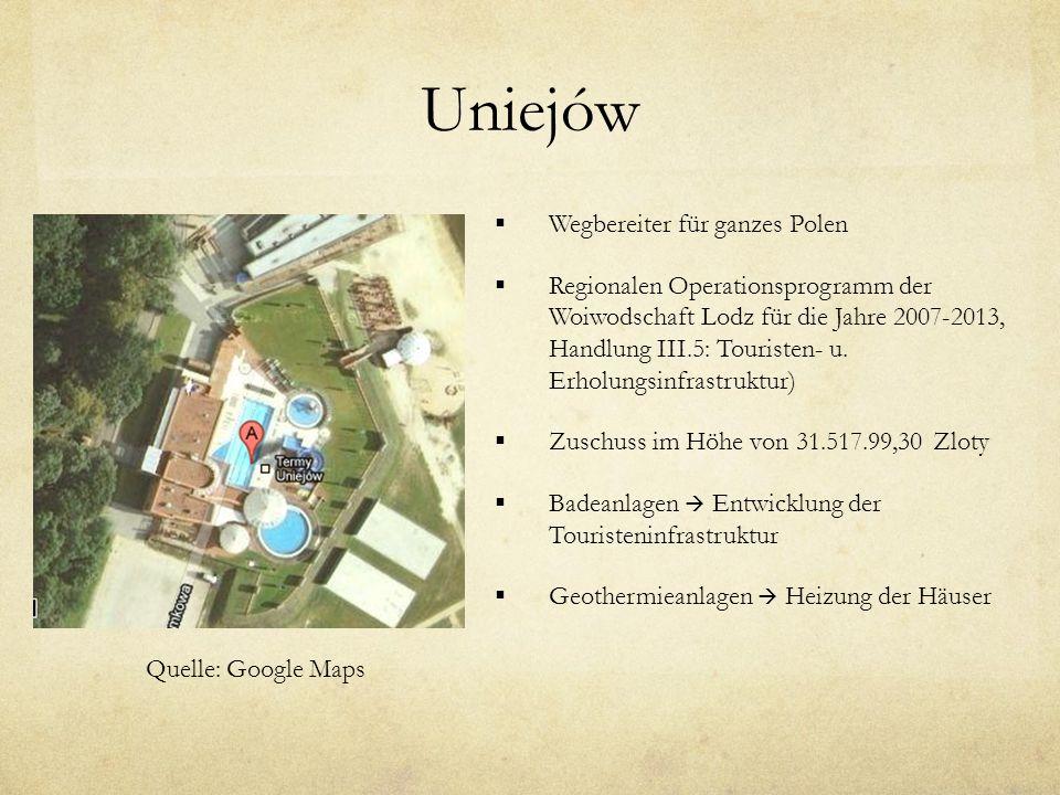 Uniejów Wegbereiter für ganzes Polen Regionalen Operationsprogramm der Woiwodschaft Lodz für die Jahre 2007-2013, Handlung III.5: Touristen- u.