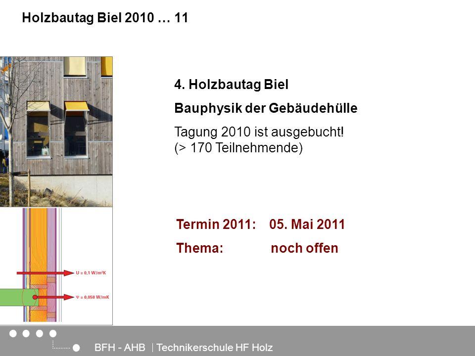 Architektur, Holz und Bau BFH - AHB Technikerschule HF Holz Holzbautag Biel 2010 … 11 4. Holzbautag Biel Bauphysik der Gebäudehülle Tagung 2010 ist au