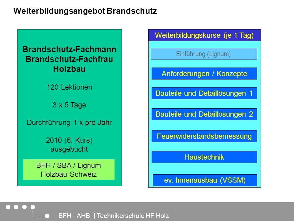 Architektur, Holz und Bau BFH - AHB Technikerschule HF Holz Weiterbildungsangebot Brandschutz Brandschutz-Fachmann Brandschutz-Fachfrau Holzbau 120 Le