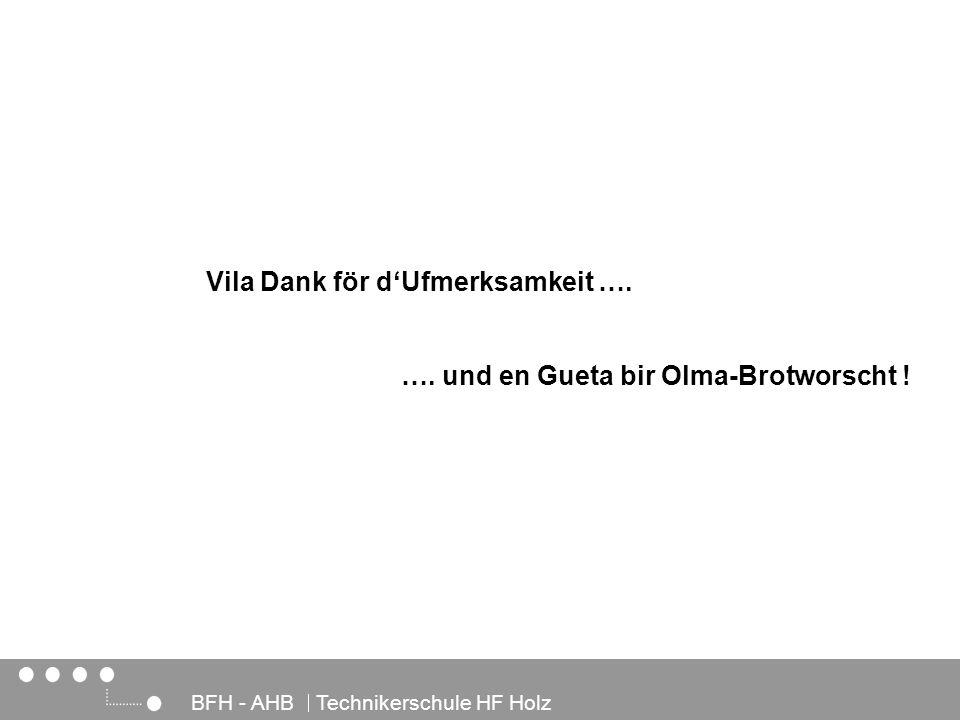Architektur, Holz und Bau BFH - AHB Technikerschule HF Holz …. und en Gueta bir Olma-Brotworscht ! Vila Dank för dUfmerksamkeit ….