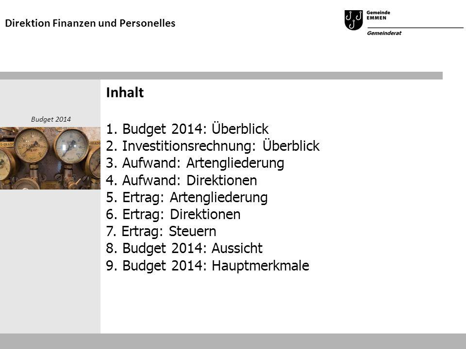 Inhalt 1. Budget 2014: Überblick 2. Investitionsrechnung: Überblick 3.