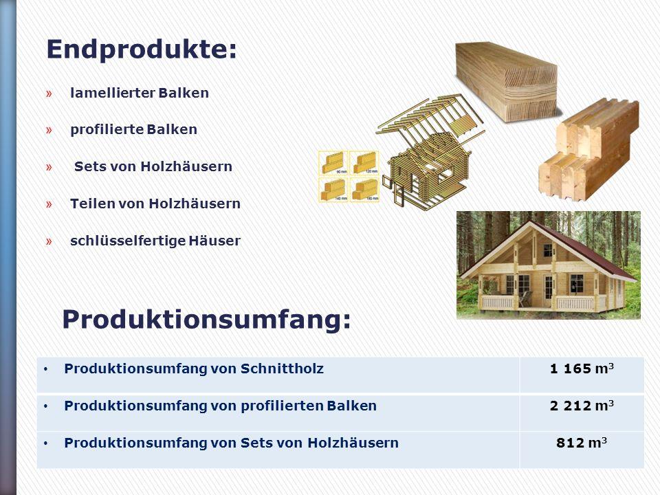 Endprodukte: » lamellierter Balken » profilierte Balken » Sets von Holzhäusern » Teilen von Holzhäusern » schlüsselfertige Häuser Produktionsumfang: Produktionsumfang von Schnittholz1 165 m 3 Produktionsumfang von profilierten Balken2 212 m 3 Produktionsumfang von Sets von Holzhäusern812 m 3