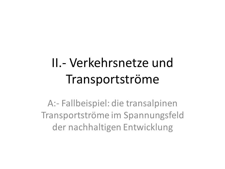 II.- Verkehrsnetze und Transportströme A:- Fallbeispiel: die transalpinen Transportströme im Spannungsfeld der nachhaltigen Entwicklung