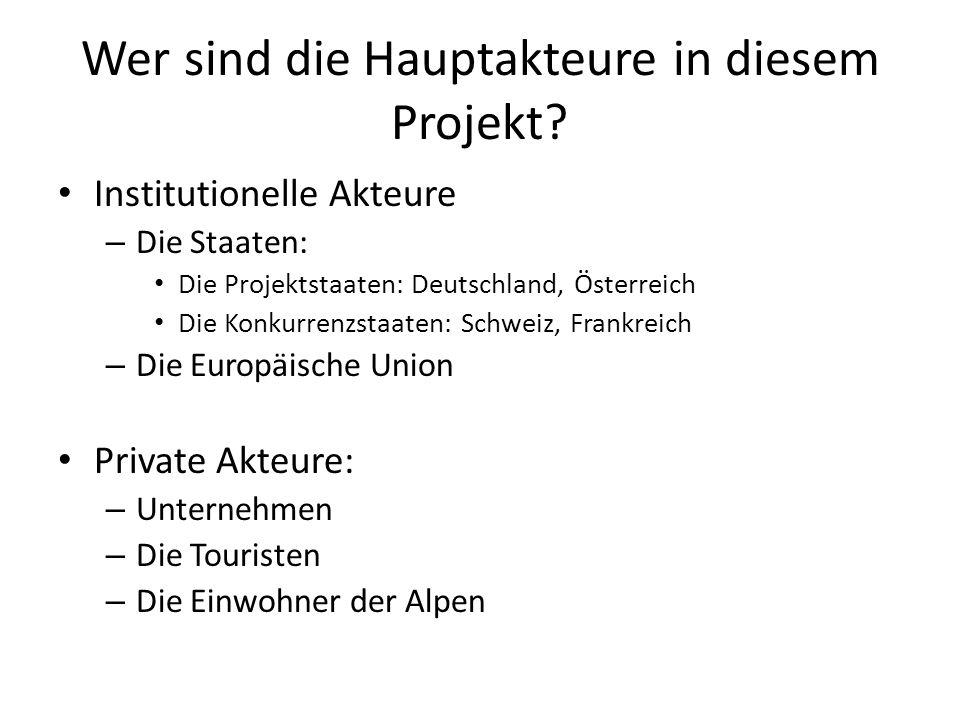 Wer sind die Hauptakteure in diesem Projekt? Institutionelle Akteure – Die Staaten: Die Projektstaaten: Deutschland, Österreich Die Konkurrenzstaaten: