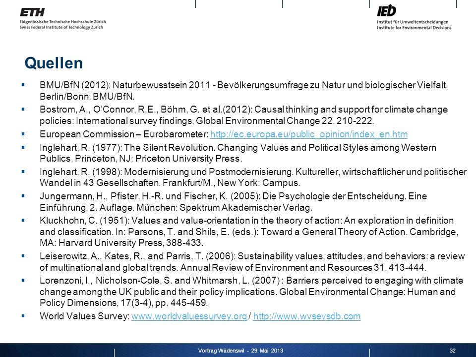 BMU/BfN (2012): Naturbewusstsein 2011 - Bevölkerungsumfrage zu Natur und biologischer Vielfalt. Berlin/Bonn: BMU/BfN. Bostrom, A., OConnor, R.E., Böhm