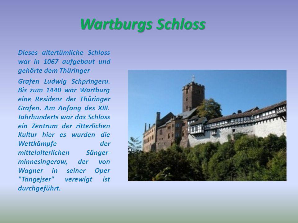 Wartburgs Schloss Dieses altertümliche Schloss war in 1067 aufgebaut und gehörte dem Thüringer Grafen Ludwig Schpringeru.