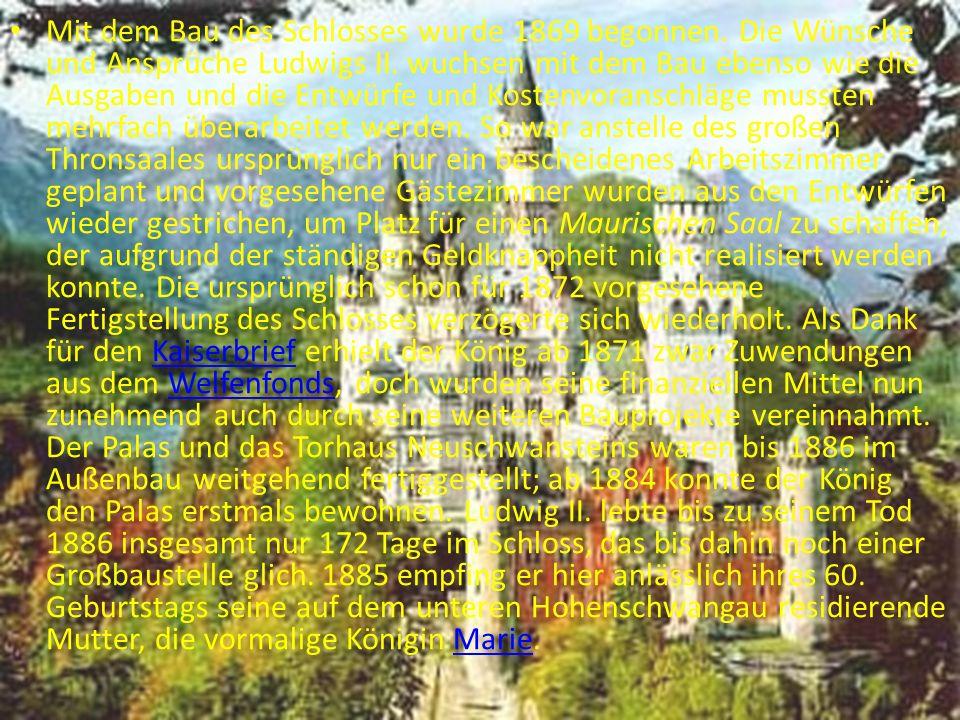 Ludwig II.vor Neuschwanstein, Postkartenmotiv des 19.