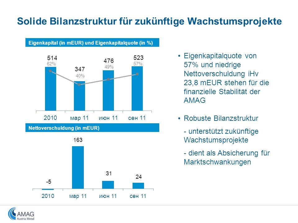 Nettoverschuldung (in mEUR) Solide Bilanzstruktur für zukünftige Wachstumsprojekte Eigenkapital (in mEUR) und Eigenkapitalquote (in %) Eigenkapitalquo