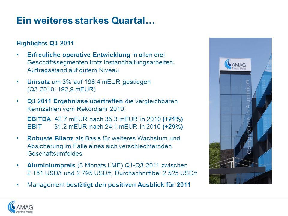 Highlights Q3 2011 Erfreuliche operative Entwicklung in allen drei Geschäftssegmenten trotz Instandhaltungsarbeiten; Auftragsstand auf gutem Niveau Um