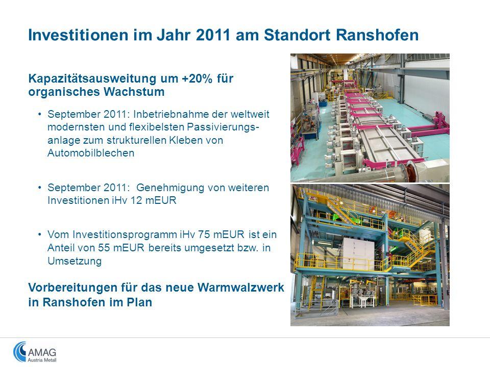Kapazitätsausweitung um +20% für organisches Wachstum September 2011: Inbetriebnahme der weltweit modernsten und flexibelsten Passivierungs- anlage zu