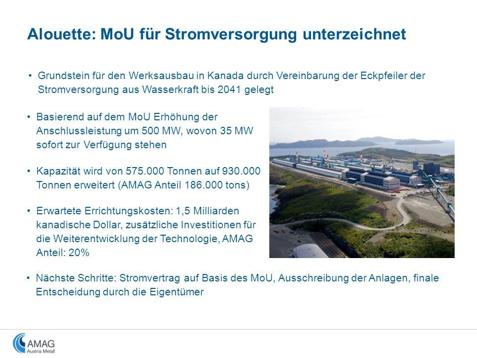 Basierend auf dem MoU Erhöhung der Anschlussleistung um 500 MW, wovon 35 MW sofort zur Verfügung stehen Kapazität wird von 575.000 Tonnen auf 930.000