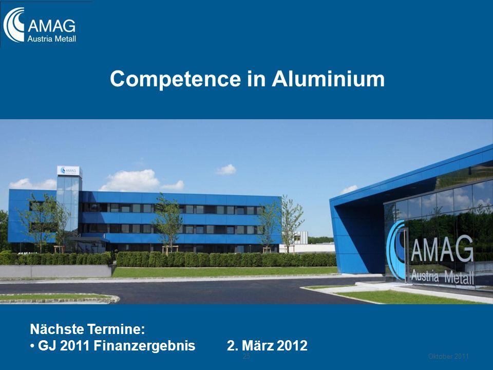 Competence in Aluminium Nächste Termine: GJ 2011 Finanzergebnis 2. März 2012 25Oktober 2011