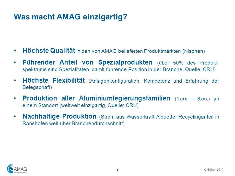 Höchste Qualität in den von AMAG belieferten Produktmärkten (Nischen) Führender Anteil von Spezialprodukten (über 50% des Produkt- spektrums sind Spez