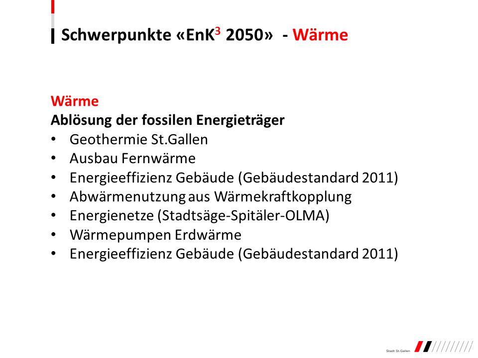 Schwerpunkte «EnK 3 2050» - Wärme Wärme Ablösung der fossilen Energieträger Geothermie St.Gallen Ausbau Fernwärme Energieeffizienz Gebäude (Gebäudesta