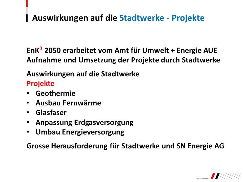 EnK 3 2050 erarbeitet vom Amt für Umwelt + Energie AUE Aufnahme und Umsetzung der Projekte durch Stadtwerke Auswirkungen auf die Stadtwerke Projekte G