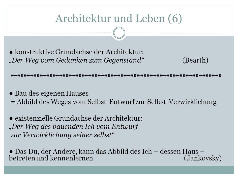 Architektur und Leben (6) konstruktive Grundachse der Architektur: Der Weg vom Gedanken zum Gegenstand (Bearth) ***************************************************************** Bau des eigenen Hauses = Abbild des Weges vom Selbst-Entwurf zur Selbst-Verwirklichung existenzielle Grundachse der Architektur: Der Weg des bauenden Ich vom Entwurf zur Verwirklichung seiner selbst Das Du, der Andere, kann das Abbild des Ich – dessen Haus – betreten und kennenlernen (Jankovsky)