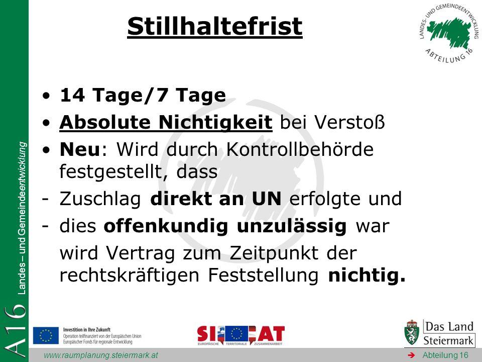 www.raumplanung.steiermark.at Landes – und Gemeindeentwicklung Abteilung 16 Stillhaltefrist 14 Tage/7 Tage Absolute Nichtigkeit bei Verstoß Neu: Wird
