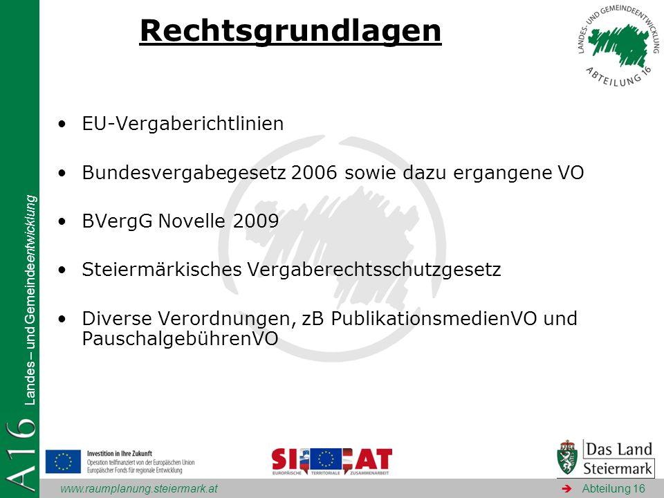 www.raumplanung.steiermark.at Landes – und Gemeindeentwicklung Abteilung 16 Rechtsgrundlagen EU-Vergaberichtlinien Bundesvergabegesetz 2006 sowie dazu