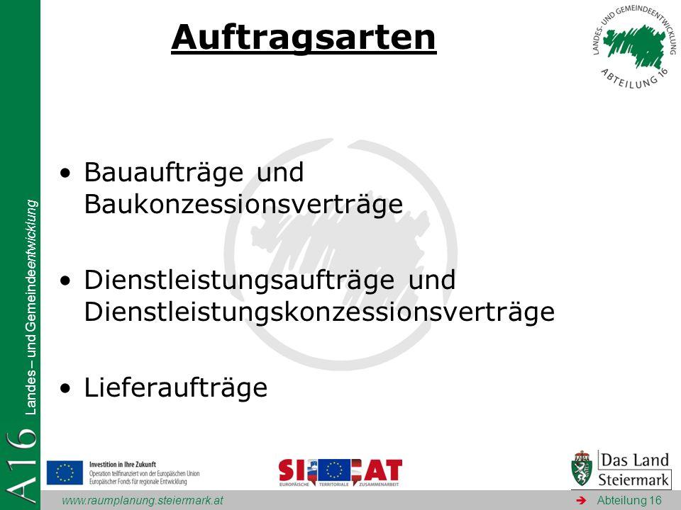 www.raumplanung.steiermark.at Landes – und Gemeindeentwicklung Abteilung 16 Auftragsarten Bauaufträge und Baukonzessionsverträge Dienstleistungsaufträ