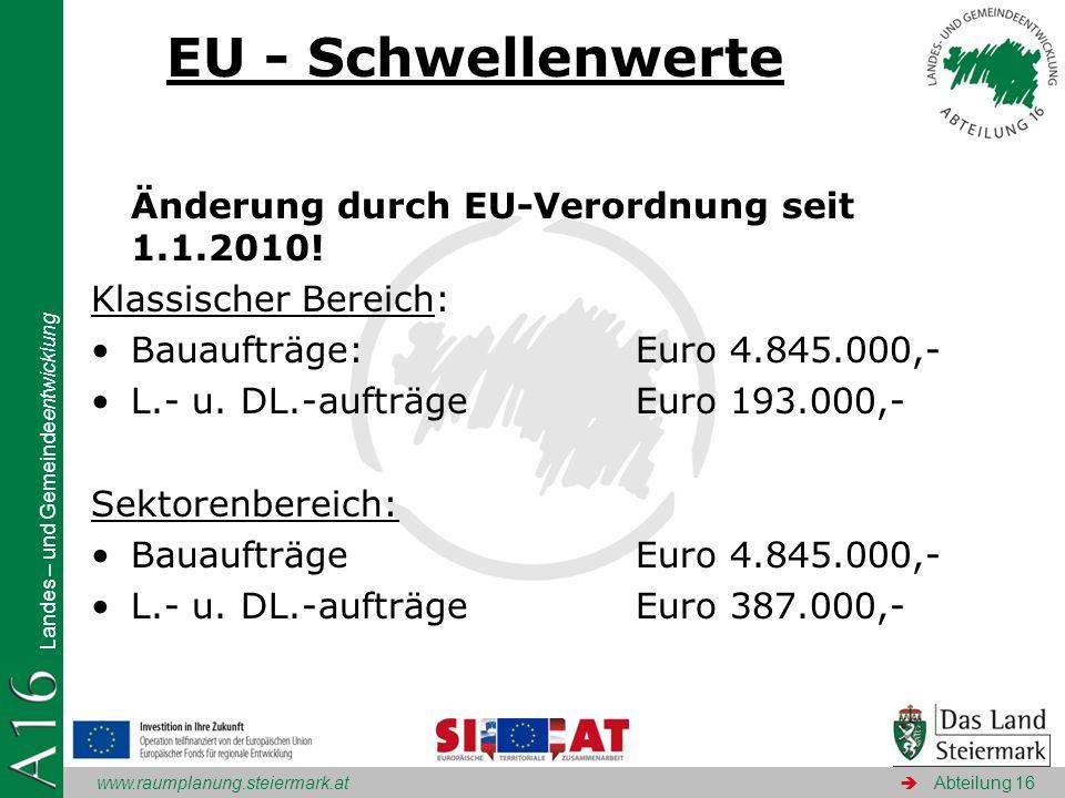www.raumplanung.steiermark.at Landes – und Gemeindeentwicklung Abteilung 16 EU - Schwellenwerte Änderung durch EU-Verordnung seit 1.1.2010! Klassische