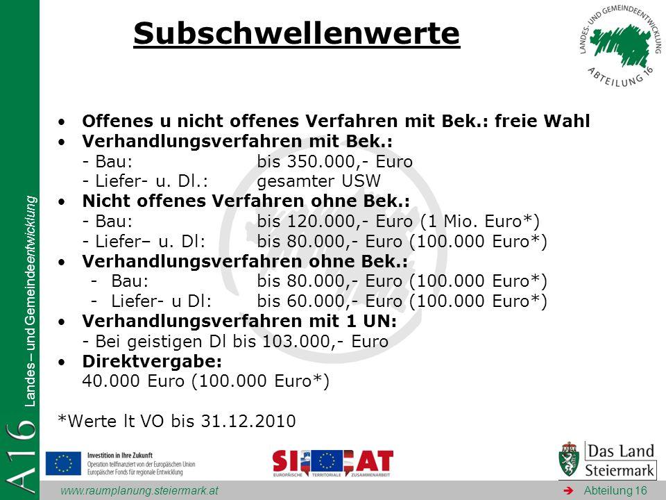 www.raumplanung.steiermark.at Landes – und Gemeindeentwicklung Abteilung 16 Subschwellenwerte Offenes u nicht offenes Verfahren mit Bek.: freie Wahl V
