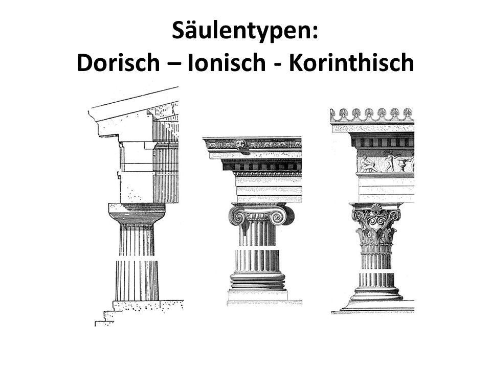 Säulentypen: Dorisch – Ionisch - Korinthisch