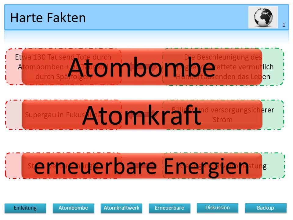 Gliederung Einleitung Atomkraftwerke Die Atombombe Erneuerbare Energien Diskussion Backup 2 Diskussion Atomkraftwerk Erneuerbare Einleitung Atombombe Backup