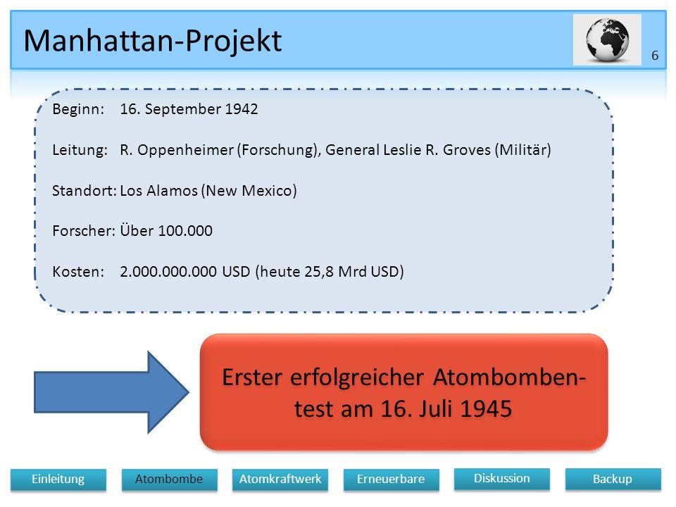 Manhattan-Projekt 6 Diskussion Atomkraftwerk Erneuerbare Einleitung Atombombe Backup Beginn:16.
