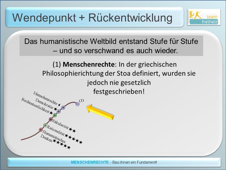 Wendepunkt + Rückentwicklung MENSCHENRECHTE – Bau ihnen ein Fundament! Das humanistische Weltbild entstand Stufe für Stufe – und so verschwand es auch