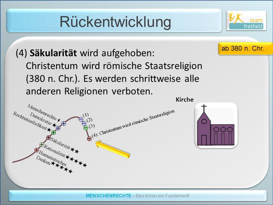 Rückentwicklung MENSCHENRECHTE – Bau ihnen ein Fundament! (4) Säkularität wird aufgehoben: Christentum wird römische Staatsreligion (380 n. Chr.). Es