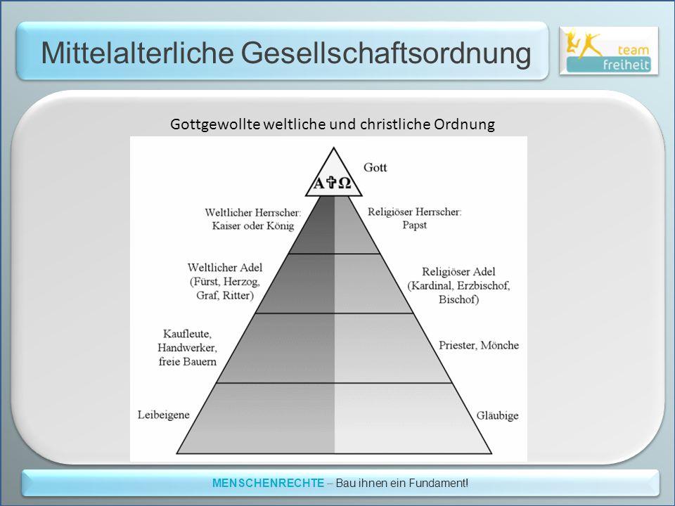 Mittelalterliche Gesellschaftsordnung MENSCHENRECHTE – Bau ihnen ein Fundament! Gottgewollte weltliche und christliche Ordnung