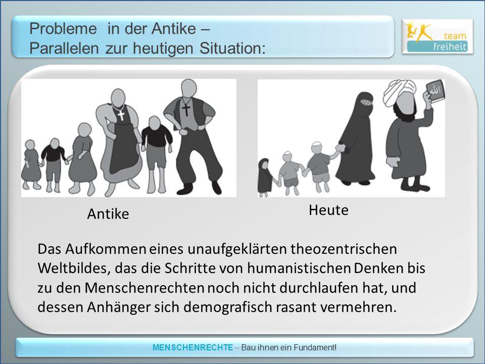 Probleme in der Antike – Parallelen zur heutigen Situation: MENSCHENRECHTE – Bau ihnen ein Fundament! Das Aufkommen eines unaufgeklärten theozentrisch