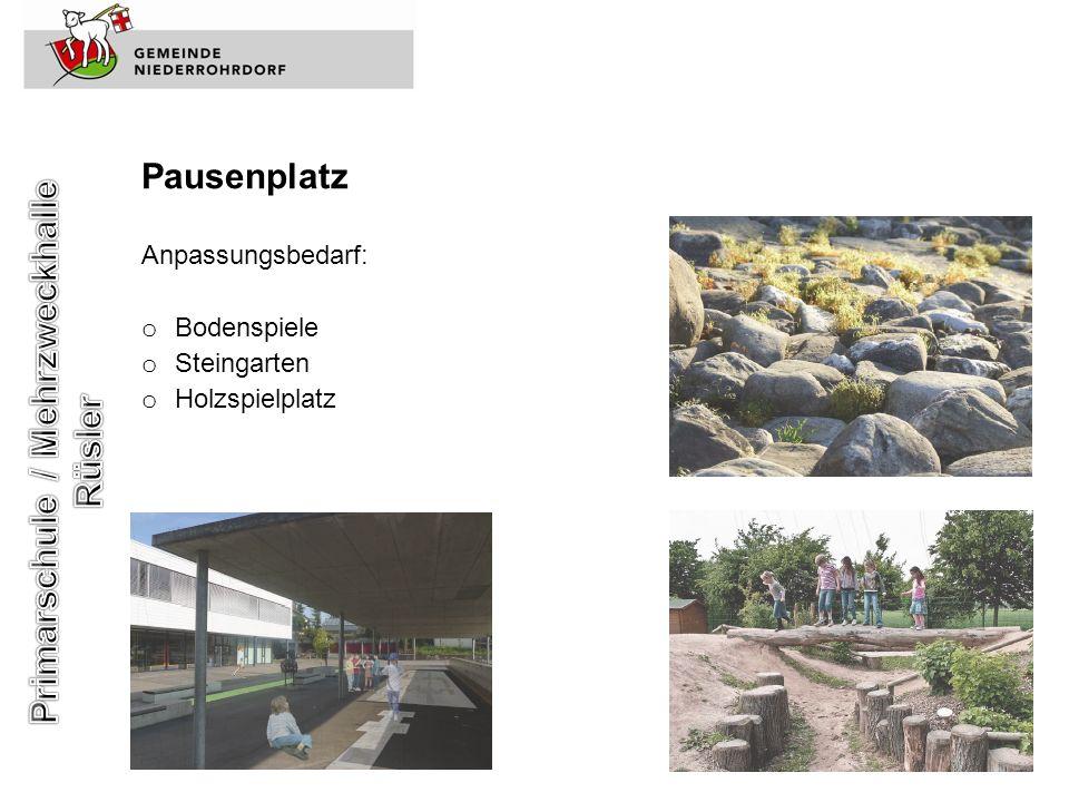 Pausenplatz Anpassungsbedarf: o Bodenspiele o Steingarten o Holzspielplatz