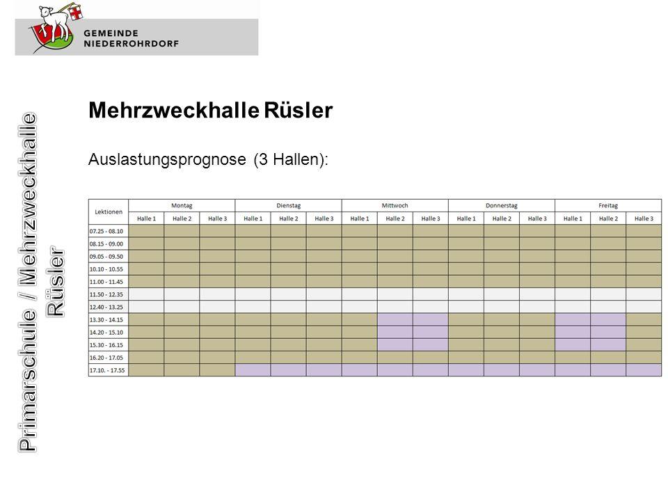 Mehrzweckhalle Rüsler Auslastungsprognose (3 Hallen):