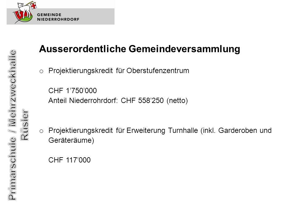 Ausserordentliche Gemeindeversammlung o Projektierungskredit für Oberstufenzentrum CHF 1750000 Anteil Niederrohrdorf: CHF 558250 (netto) o Projektieru