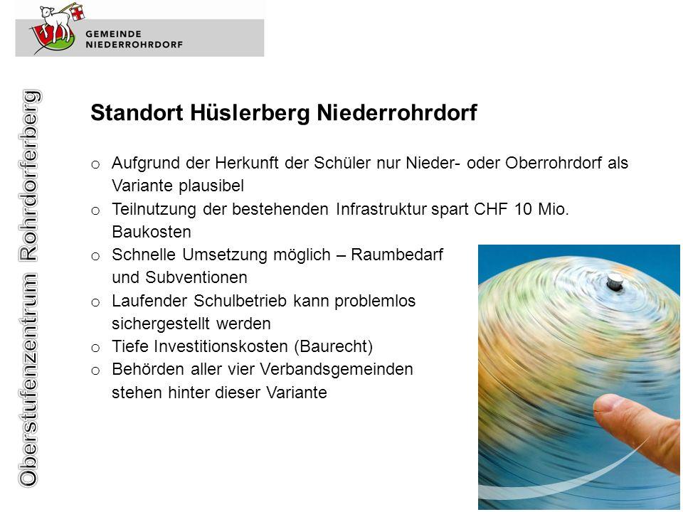 Standort Hüslerberg Niederrohrdorf o Aufgrund der Herkunft der Schüler nur Nieder- oder Oberrohrdorf als Variante plausibel o Teilnutzung der bestehen