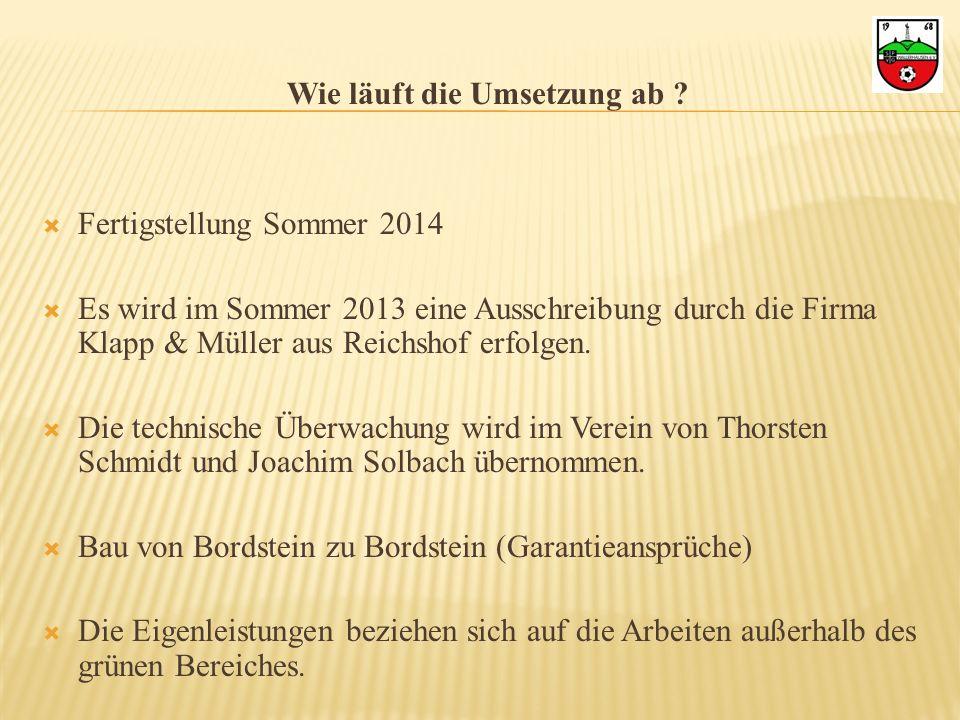 Wie läuft die Umsetzung ab ? Fertigstellung Sommer 2014 Es wird im Sommer 2013 eine Ausschreibung durch die Firma Klapp & Müller aus Reichshof erfolge
