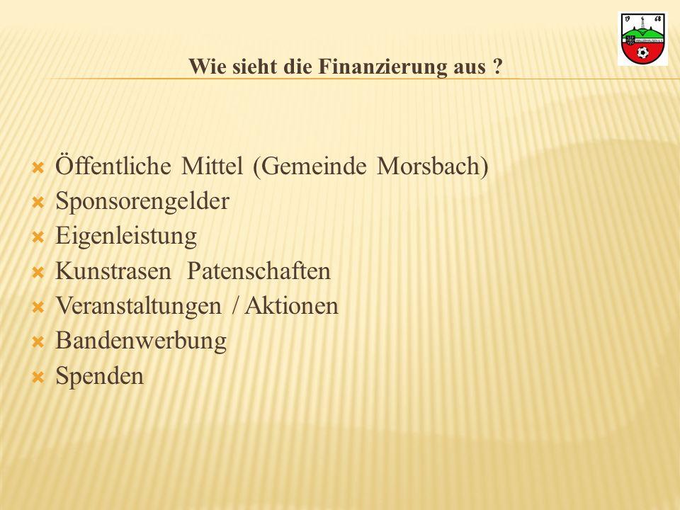 Wie sieht die Finanzierung aus ? Öffentliche Mittel (Gemeinde Morsbach) Sponsorengelder Eigenleistung Kunstrasen Patenschaften Veranstaltungen / Aktio
