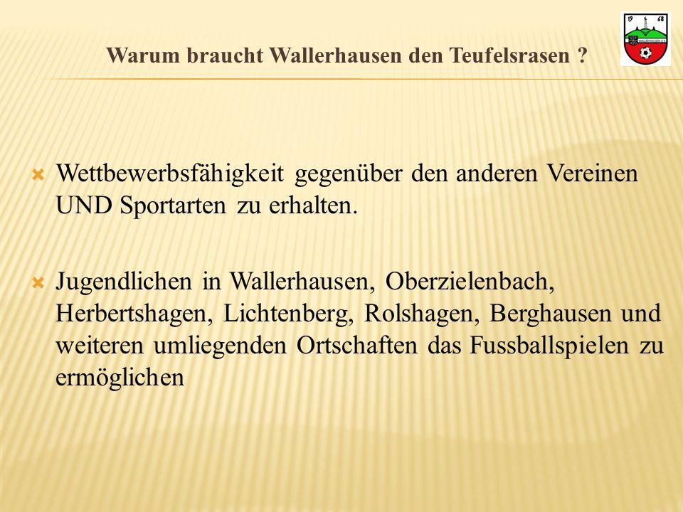 Warum braucht Wallerhausen den Teufelsrasen ? Wettbewerbsfähigkeit gegenüber den anderen Vereinen UND Sportarten zu erhalten. Jugendlichen in Wallerha