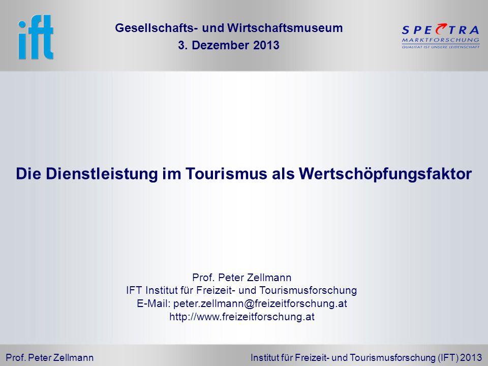 Prof. Peter Zellmann Institut für Freizeit- und Tourismusforschung (IFT) 2013 Prof. Peter Zellmann IFT Institut für Freizeit- und Tourismusforschung E