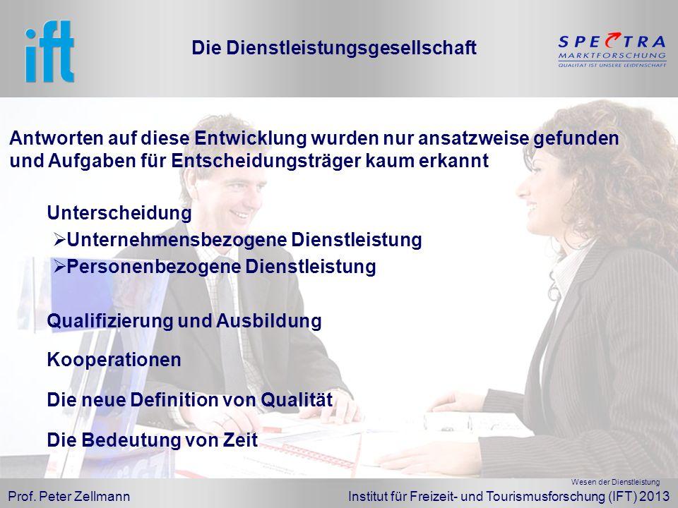 Prof. Peter Zellmann Institut für Freizeit- und Tourismusforschung (IFT) 2013 Die Dienstleistungsgesellschaft Unterscheidung Personenbezogene Dienstle
