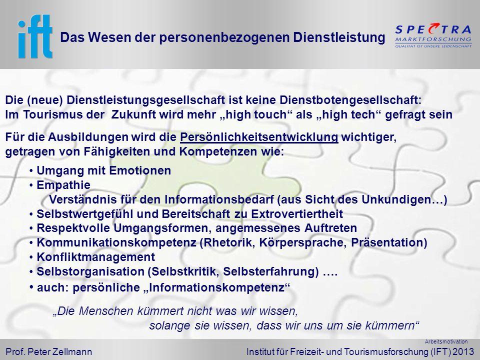 Prof. Peter Zellmann Institut für Freizeit- und Tourismusforschung (IFT) 2013 Das Wesen der personenbezogenen Dienstleistung Für die Ausbildungen wird