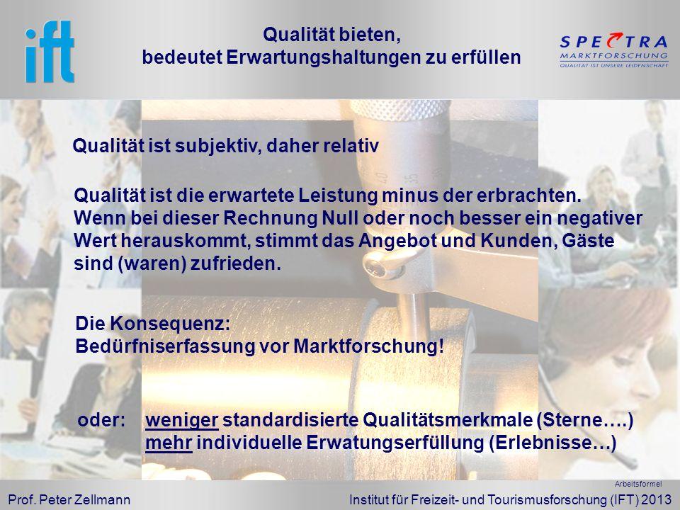 Prof. Peter Zellmann Institut für Freizeit- und Tourismusforschung (IFT) 2013 Qualität ist die erwartete Leistung minus der erbrachten. Wenn bei diese